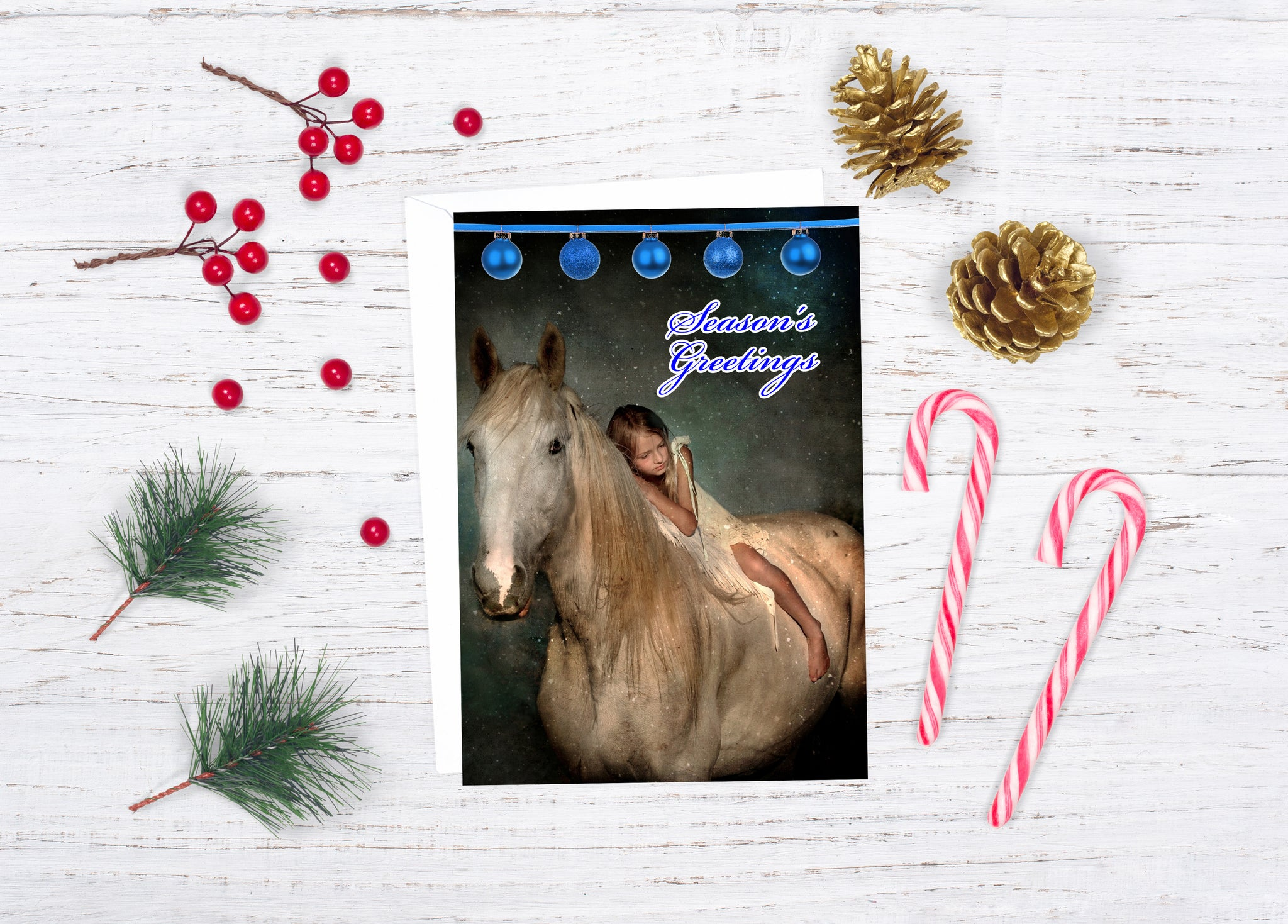Holiday Magic Greeting Card For Horse Lovers