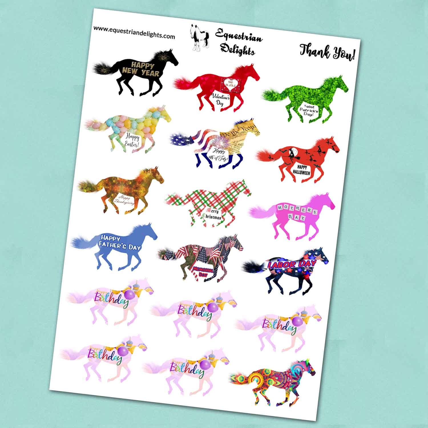Horse Stickers for Holidays, Birthdays, Planner Stickers for Equestrians