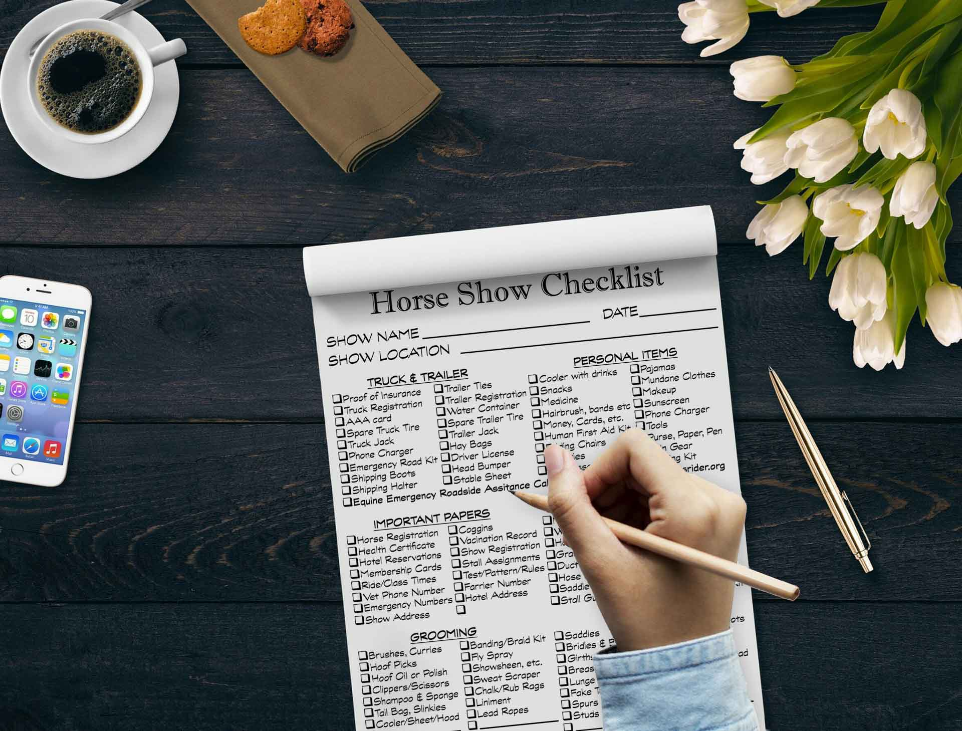 Horse Show Checklist Notepad, Detailed Horse Show List Scratchpad