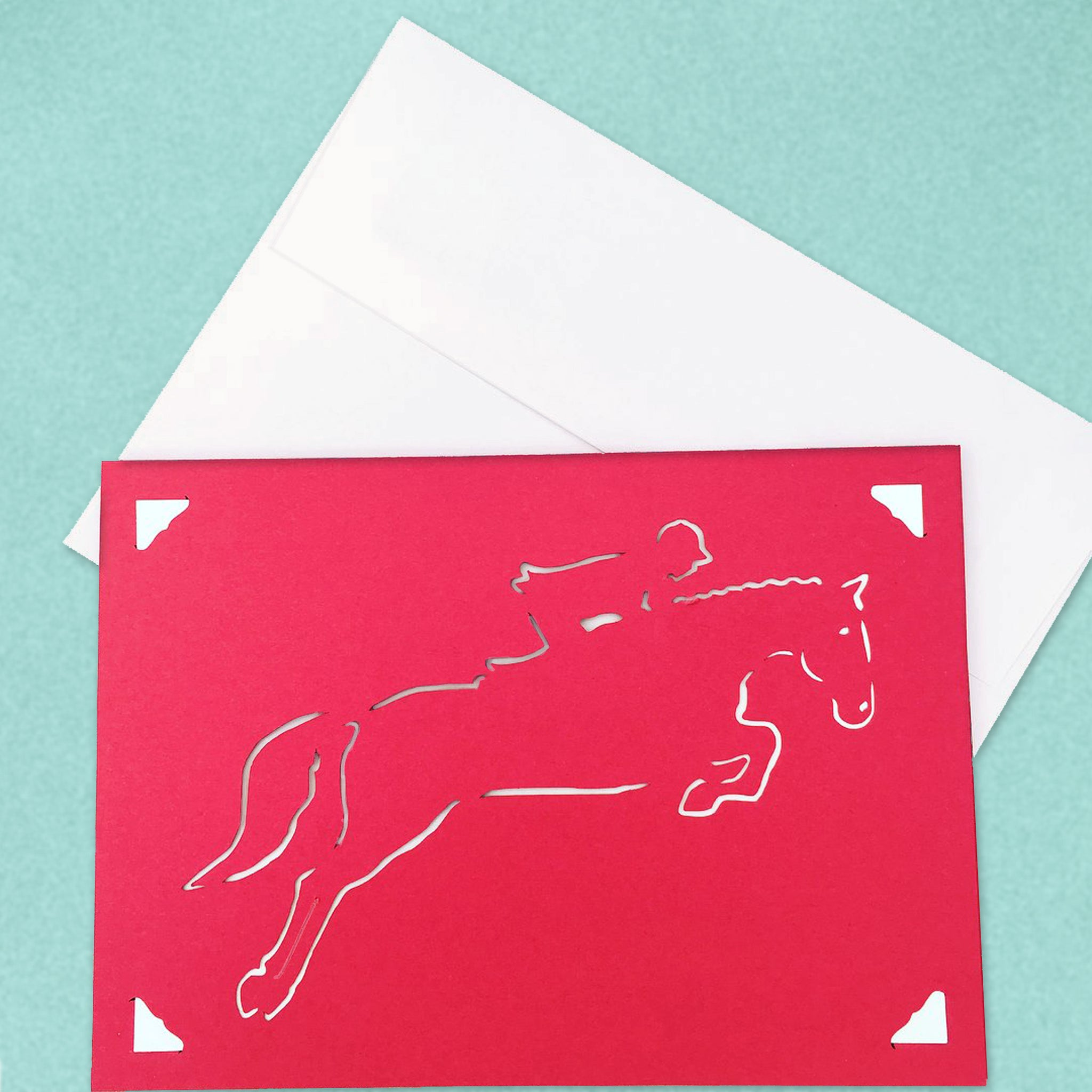Jumping Horse Greeting Card, Hunter Jumper, Color and Message Choices