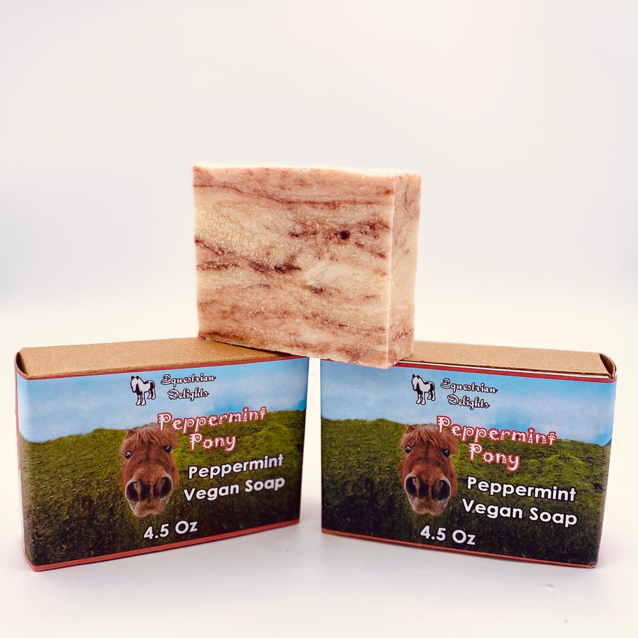 Peppermint Vegan EO Soap Bar, Peppermint Pony Horse Lover Soap
