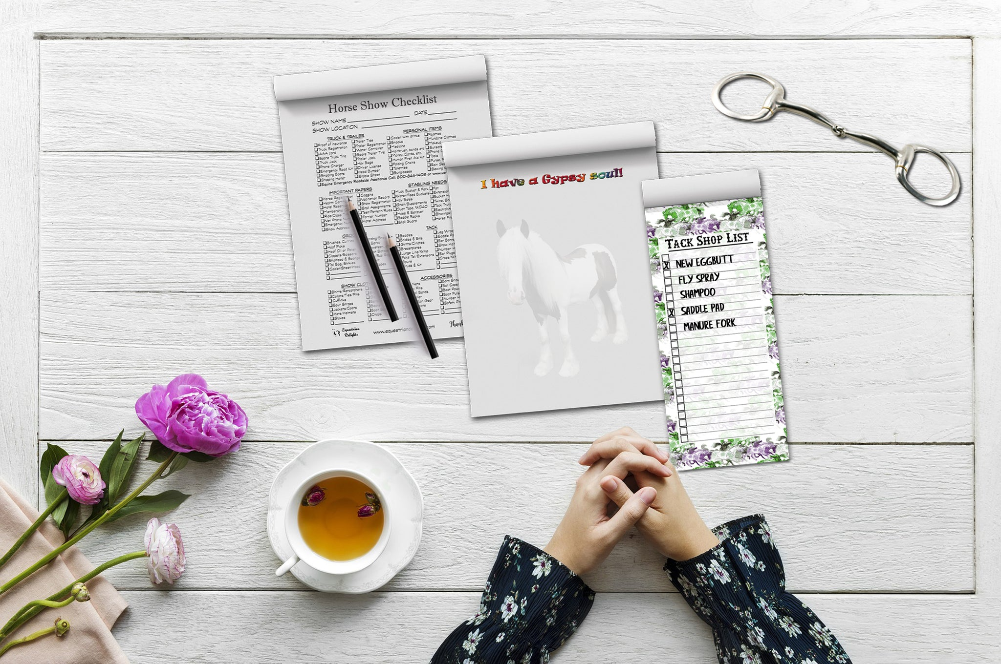 Notepad, Gypsy Vanner Notepad, Scratch Pads for Horse Lovers, Equestrian Stationery