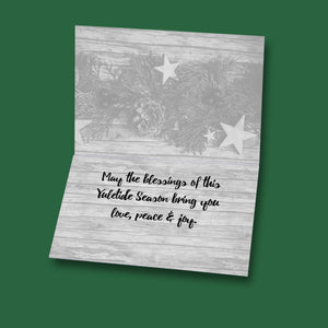 Yuletide Blessings Rustic Primitive Holiday Card for Horse Lovers