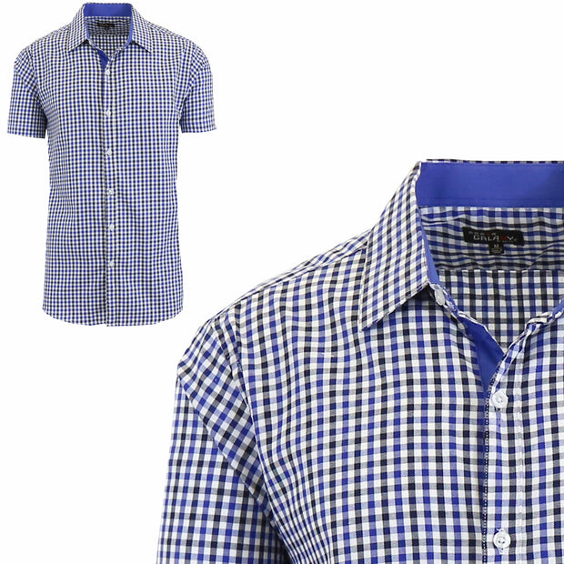 Men's Short Sleeve Slim-Fit Casual Gingham Dress Shirts - GalaxybyHarvic