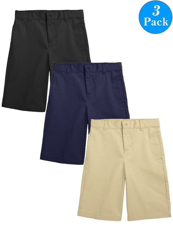 Boys Flat Front Twill School Uniform Shorts (3-Pack)