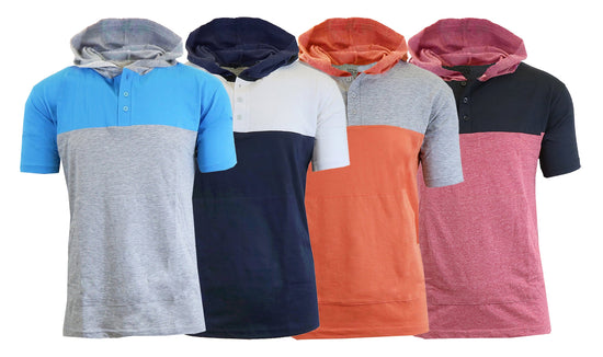 Men's Short Sleeve Slim-Fit Henley Pullover Hoodie (M-2XL)