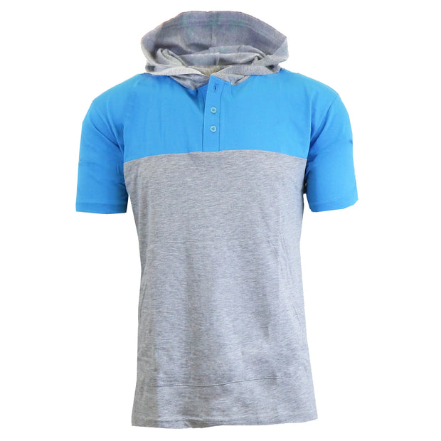 Men's Short Sleeve Henley Pullover Hoodies - GalaxybyHarvic