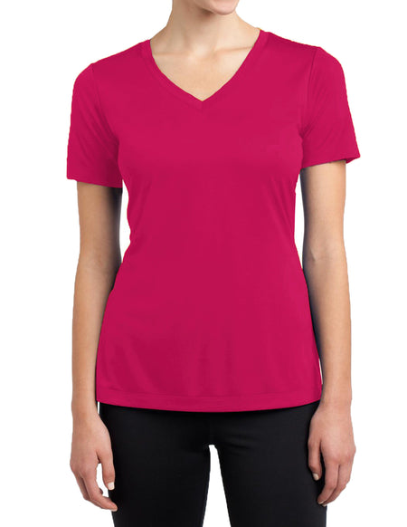 Womens Short Sleeve 97% Cotton 3% Spandex Fitted V-Neck T-Shirts