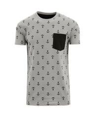 Men's Anchor Printed Tee with Chest Pocket