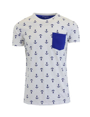Men's Anchor Printed Tee with Chest Pocket - GalaxybyHarvic