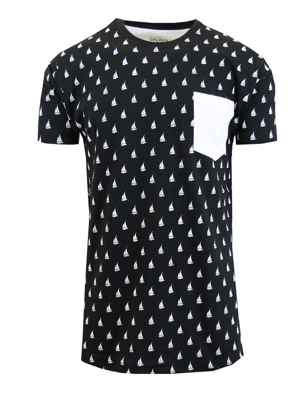 Men's Sail Boat Printed Tee with Chest Pocket - GalaxybyHarvic