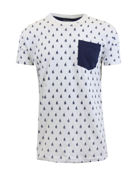 Men's Sail Boat Printed Tee with Chest Pocket