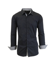 Men's Long-Sleeve Solid Slim-Fit Casual Dress Shirts
