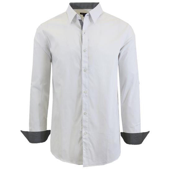 Men's Long-Sleeve Solid Slim-Fit Casual Dress Shirts - GalaxybyHarvic