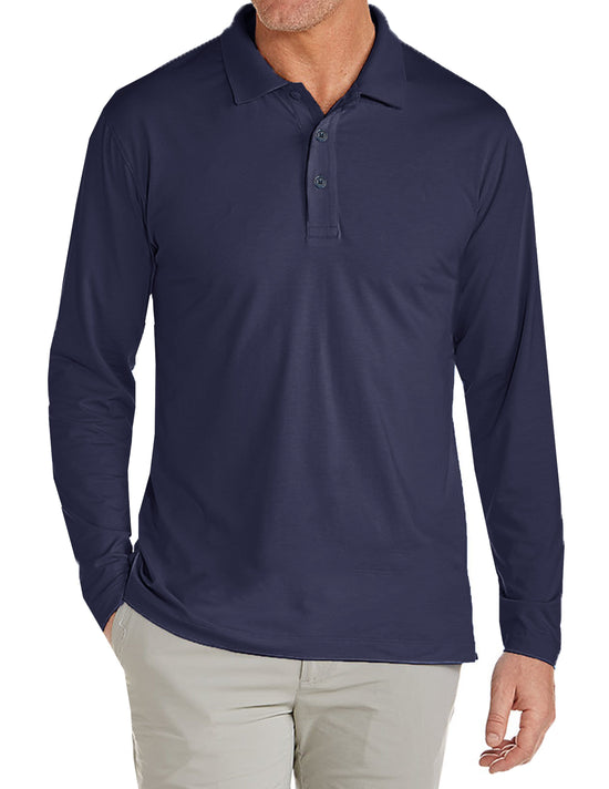 Men's Long Sleeve Pique Polo Shirt - GalaxybyHarvic
