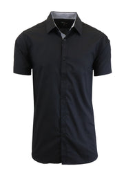 Men's Short Sleeve Slim Fit Solid Button Down Dress Shirt - GalaxybyHarvic
