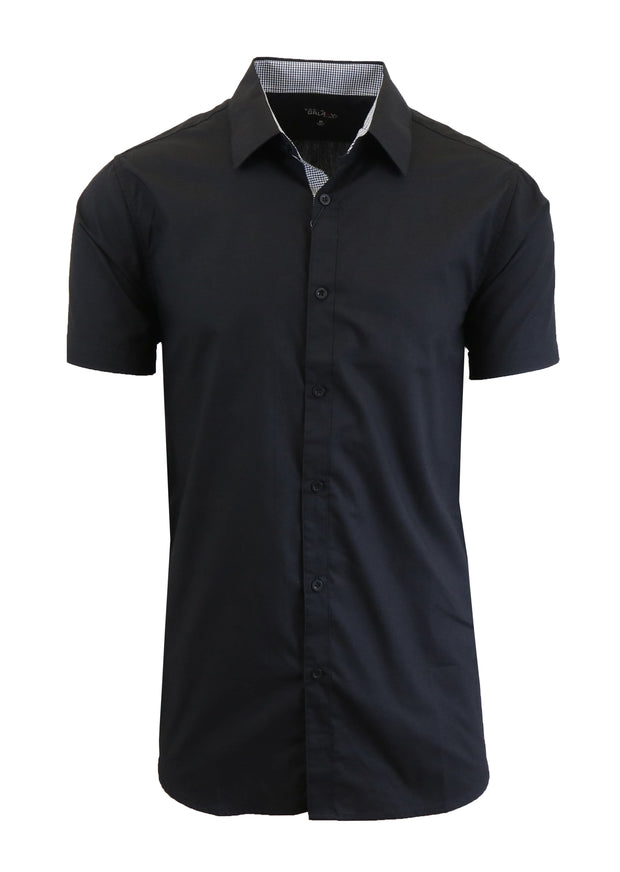 Men's Short Sleeve Slim Fit Solid Button Down Dress Shirt