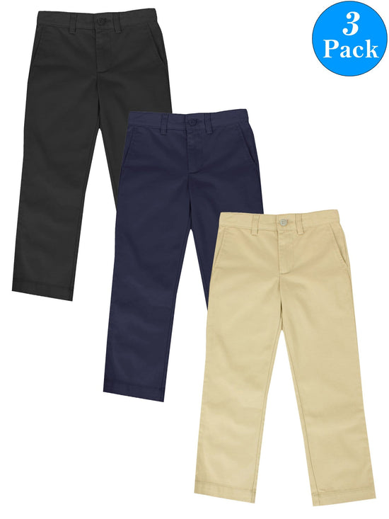 Boys Slim Straight Flat Front School Uniform Pants (3-Packs)