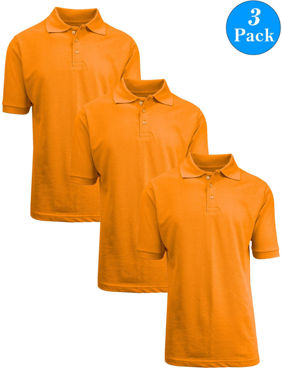 Boy's Short Sleeve School Uniform Pique Polo Shirts (3-PACK)