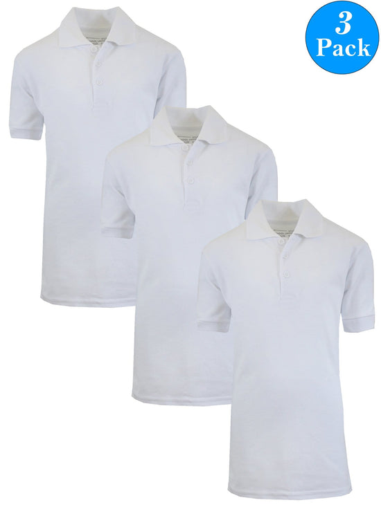 Boy's Short Sleeve School Uniform Pique Polo Shirts (3-PACK) - GalaxybyHarvic