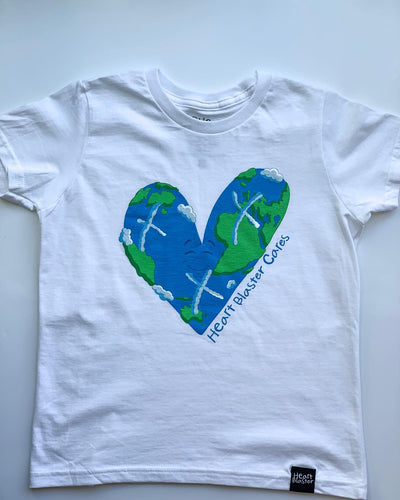 Heartblaster Cares Earth Logo Tee (White)