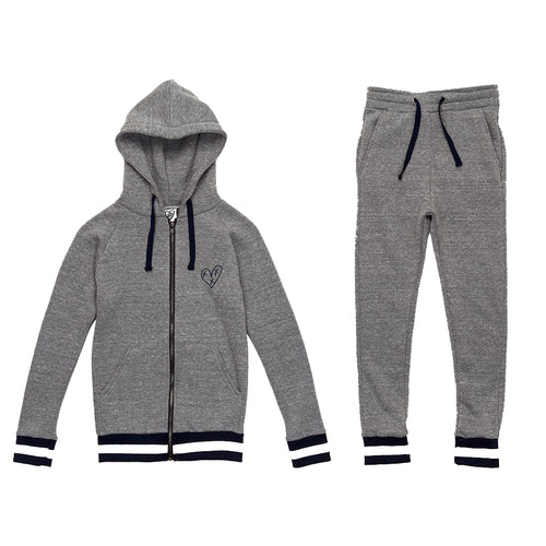 Girls 2 Piece Sweat Suit (Heather Grey)