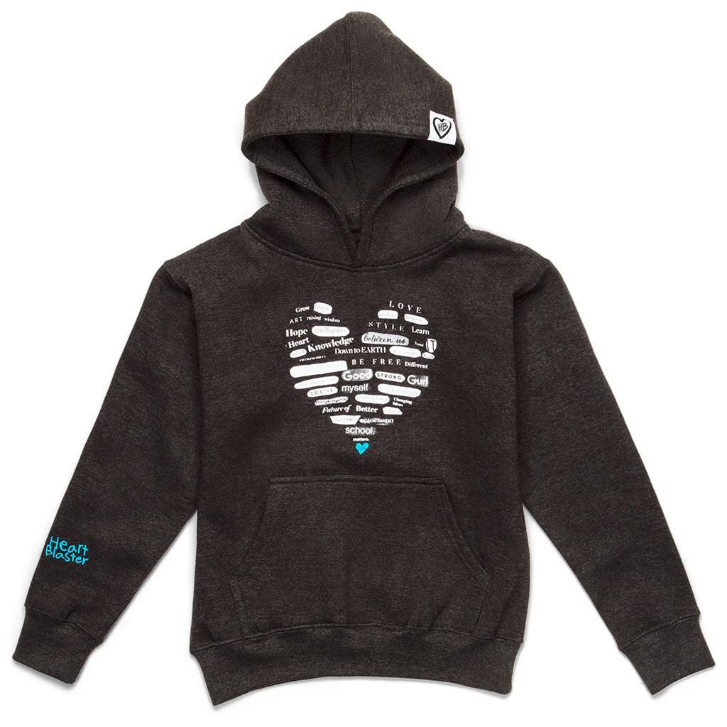 Girls Collage Heart Hoodie (Charcoal/Blue)