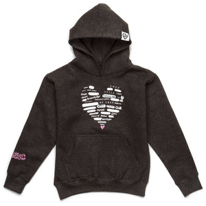 Collage Heart Hoodie (Charcoal/Pink)