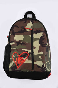 HB Logo Camo and Red Backpack