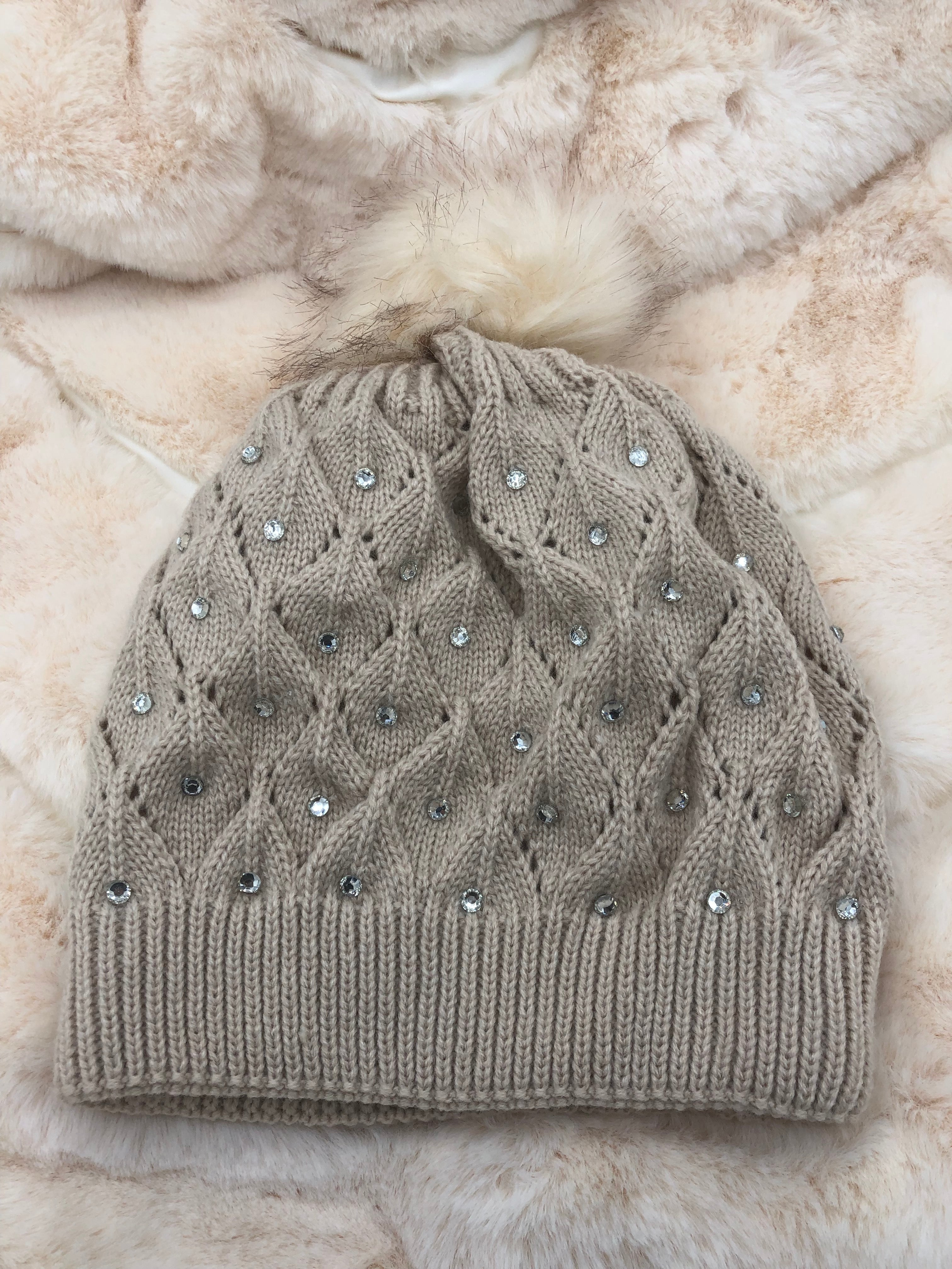 557be13e5bc Glam Cable Knit Faux Fur Pom Pom Beanie Hat