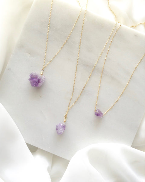 Raw Amethyst Necklace | IB Jewelry