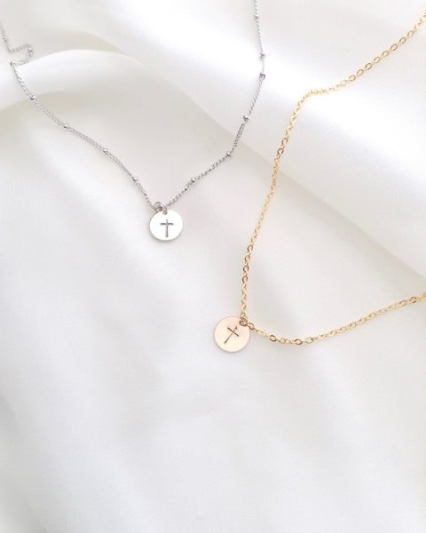 Simple Dainty Cross Necklaces | Tiny Cross Necklace | IB Jewelry
