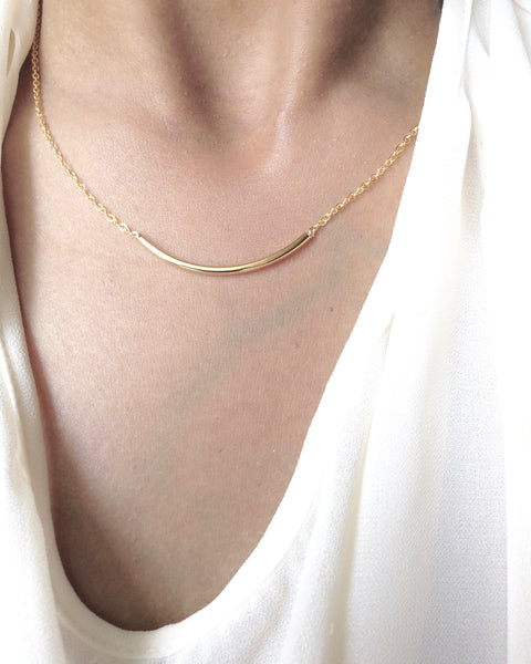 Curved Bar Necklace | Simple Delicate Everyday Necklace | IB Jewelry