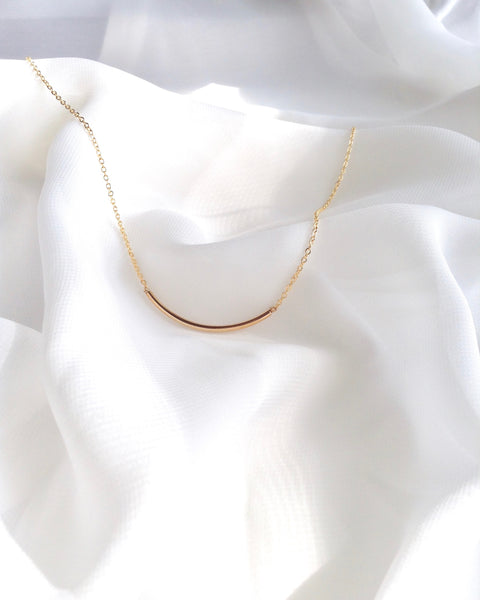 Curved Bar Necklace | Simple Everyday Necklace | IB Jewelry
