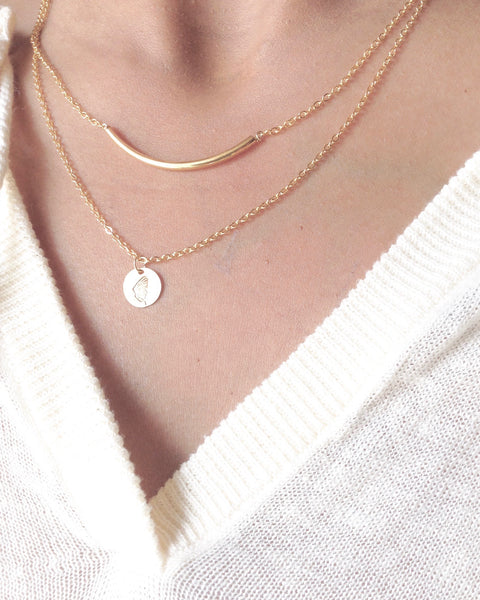 Curved Bar and Butterfly Wing Necklaces | IB Jewelry