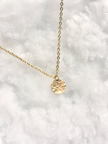 Hammered Disc Necklace | Minimalist Jewelry You Can Wear Everyday | IB Jewelry