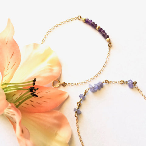 Delicate Amethyst and Tanzanite Gemstone Chain Bracelets - IB Jewelry