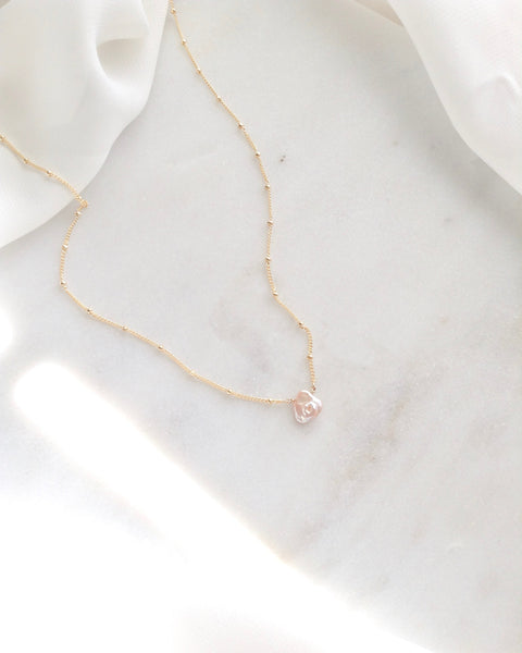 Keshi Pearl Dew Drop Necklace | Dainty Handmade Jewelry | IB Jewelry