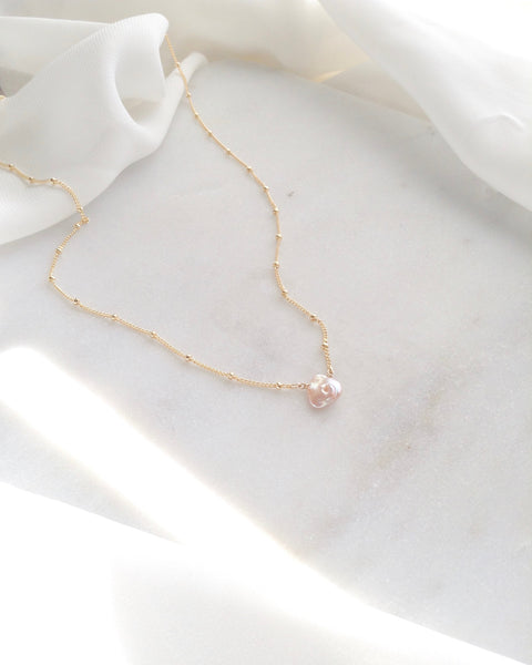 Keshi Dainty Single Pearl Necklace | Affordable Everyday Necklace | IB Jewelry