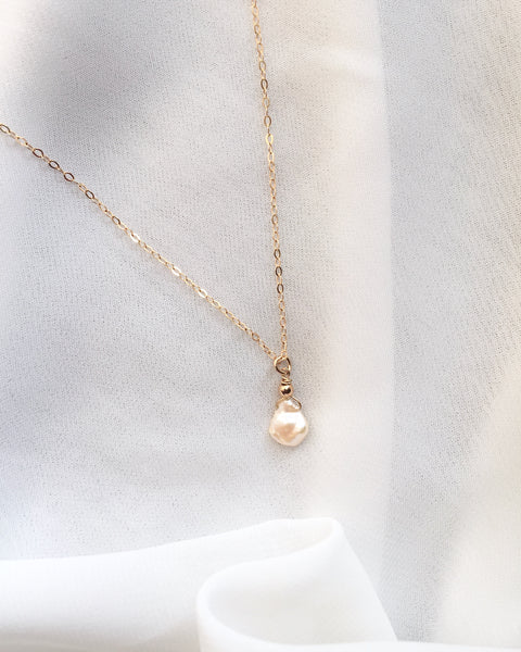Organic Pearl Necklace | Simple Delicate Everyday Necklace | IB Jewelry