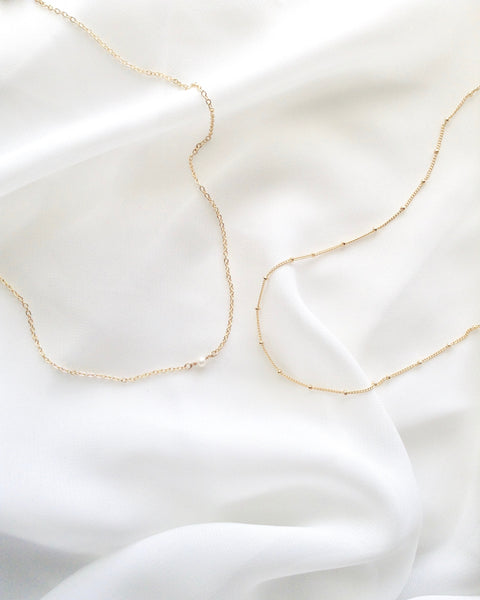 Dainty Pearl Necklace | Simple Delicate Necklace | IB Jewelry