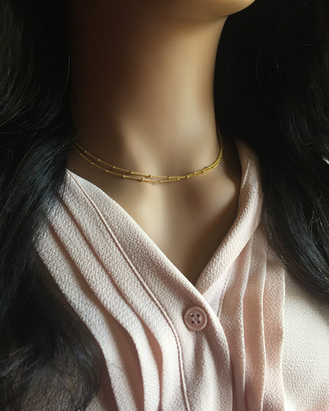 Delicate Layered Necklace | Double Strand Chain Necklace | IB Jewelry