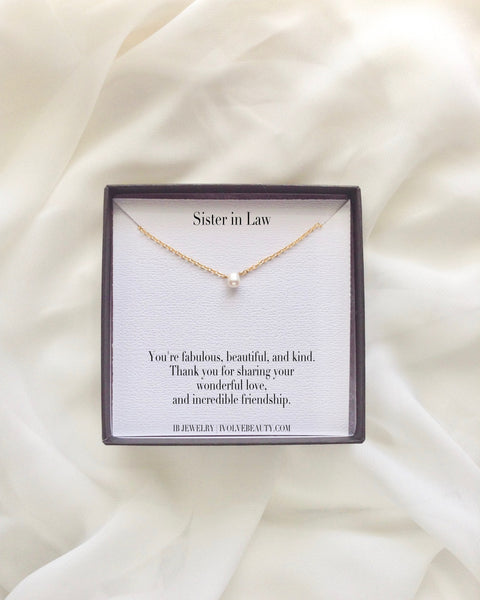 Sister in Law Small Pearl Necklace | Sister in Law Jewelry Gifts | IB Jewelry