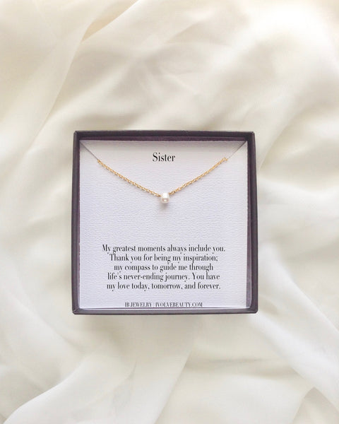 Sister Simple Pearl Necklace | Sister in Law Jewelry Gifts | IB Jewelry