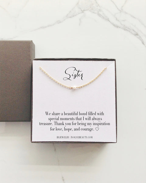 Sister Gift Tiny Single Pearl Necklace | Sister in Law Jewelry Gifts | IB Jewelry