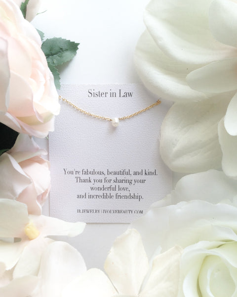 Sister in Law Necklace Gift | Small Pearl Necklace | IB Jewelry