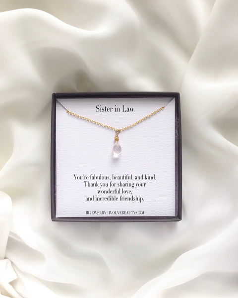 Sister in Law Rose Quartz Necklace | Sister in Law Jewelry Gift | IB Jewelry