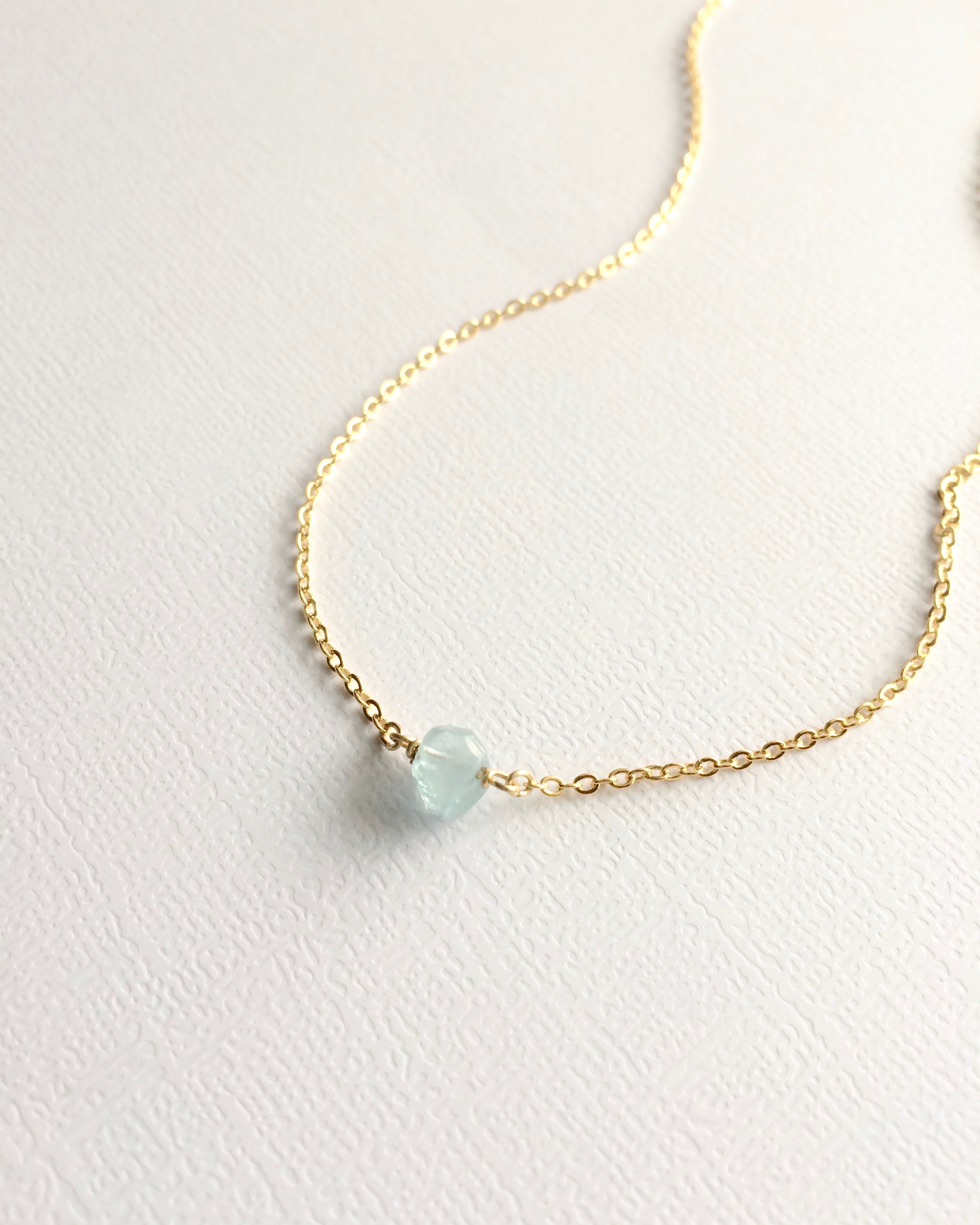 Dainty Aquamarine Minimalist Gemstone Necklace | IB Jewelry