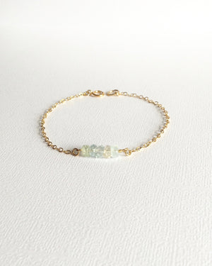 Aquamarine Gemstone Bar Bracelet | IB Jewelry