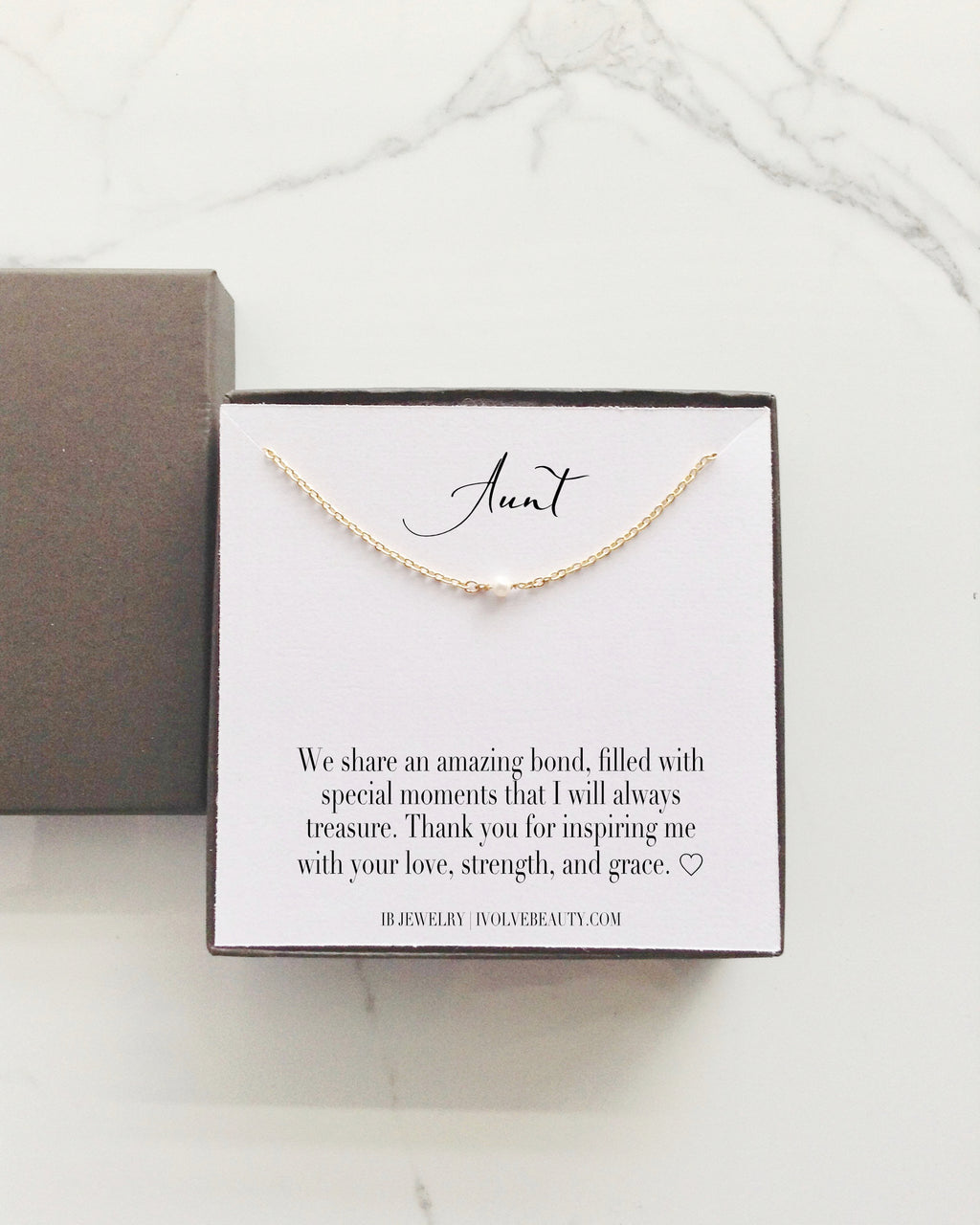 Gift For Aunt Tiny Single Pearl Necklace | Meaningful Jewelry | IB Jewelry